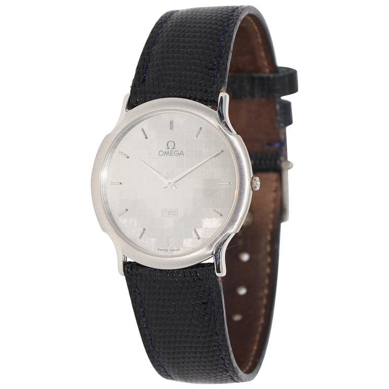 Omega Flat Platinum Wristwatch For Sale