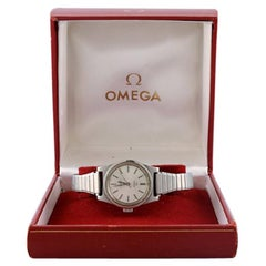 Omega Geneva or Geneve Ladies Silver Dial Watch with Original Box, 1972