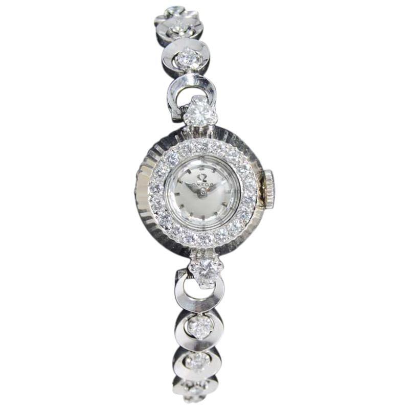 Omega Gold and Platinum Ladies Bracelet Watch, circa 1950s