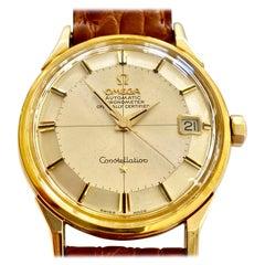 Omega, Grand Luxe Constellation 1966, 14 Karat Gold, Leather Strap, Full Set