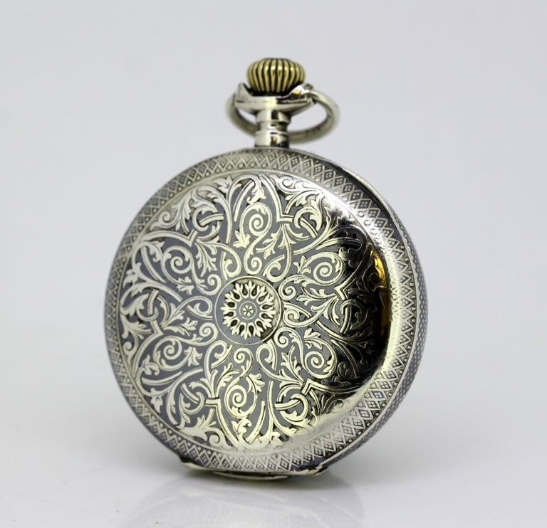 Antique silver nielo Omega pocket watch, retailed by Gurzelen pocket watch for  Omega, movement ( stamped on movement and on face), and Russian retailer (also stamped on face). Made in Switzerland Circa 1895. Fully hallmarked 875 silver  Pocket