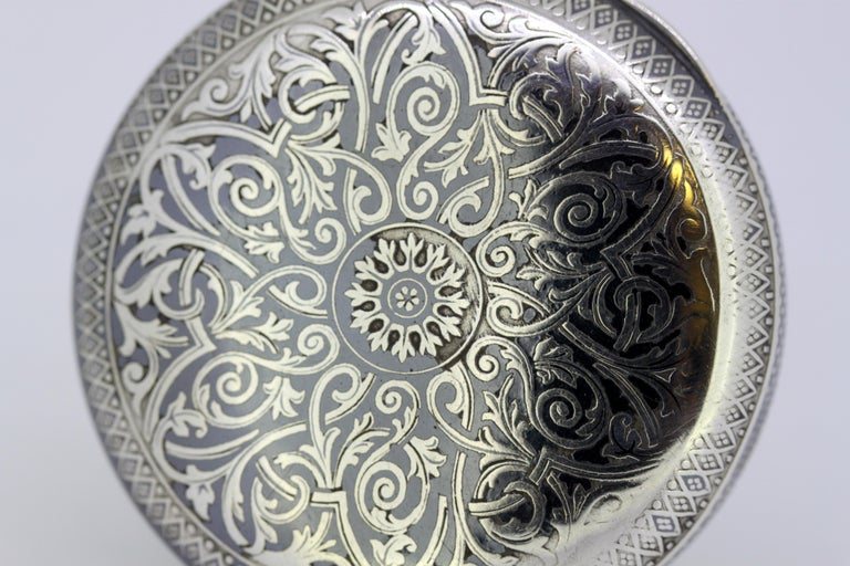Omega, Gurzelen Silver Nielo Pocketwatch Russian Retailer, Switzerland, 1895 In Good Condition In Braintree, GB