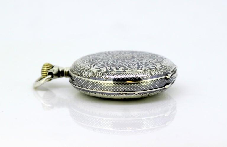 Women's or Men's Omega, Gurzelen Silver Nielo Pocketwatch Russian Retailer, Switzerland, 1895