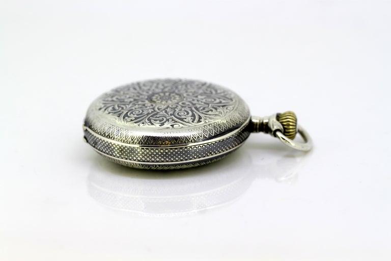 Omega, Gurzelen Silver Nielo Pocketwatch Russian Retailer, Switzerland, 1895 1