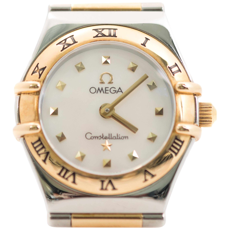 Omega Ladies 21 Karat Yellow Gold Stainless Steel Constellation Wristwatch