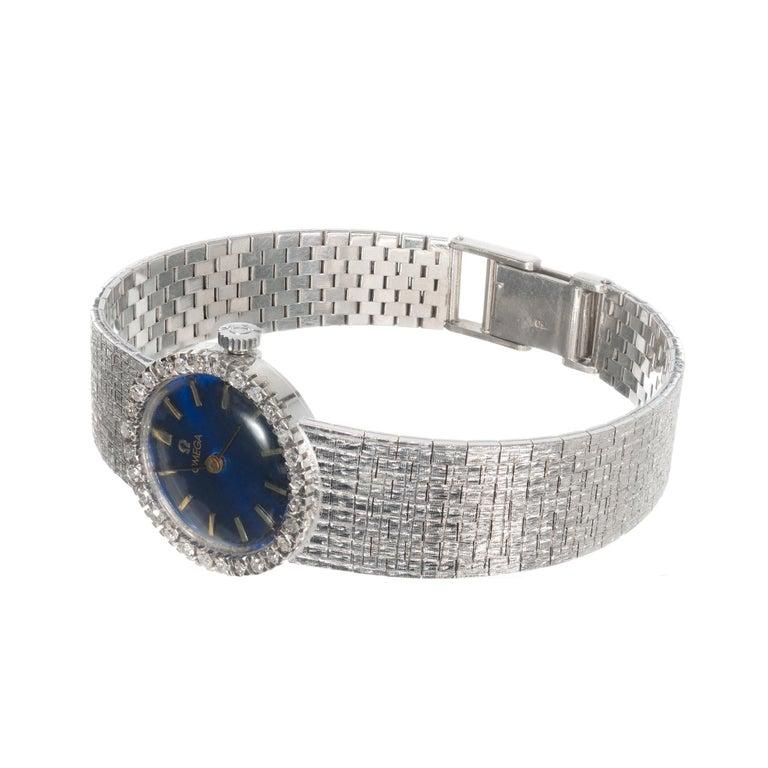 Round Cut Omega Ladies Diamond Bezel White Gold Wristwatch For Sale