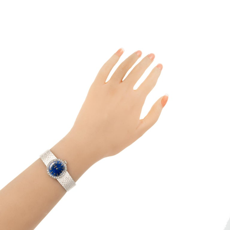 Women's Omega Ladies Diamond Bezel White Gold Wristwatch For Sale