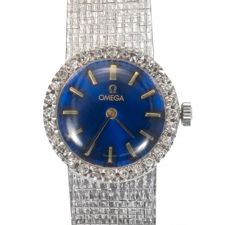 Omega Ladies Diamond Bezel White Gold Wristwatch For Sale