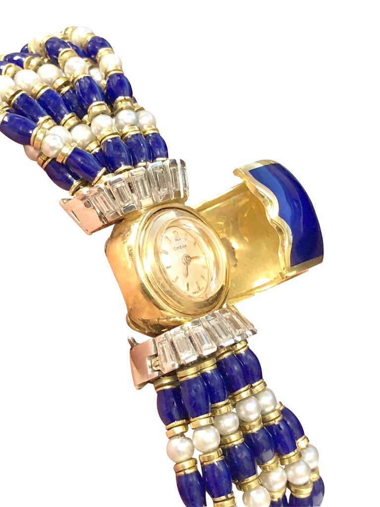 Omega Ladies Gold Platinum Diamond Pearl and Enamel Covered Bracelet Watch In Excellent Condition For Sale In Chicago, IL