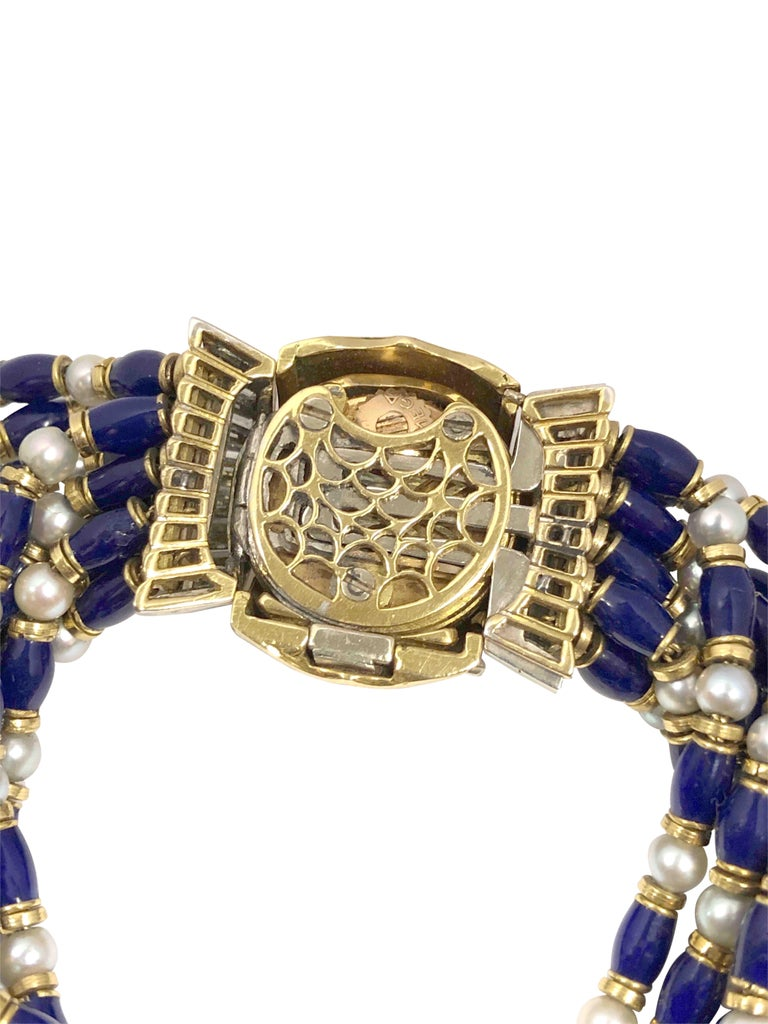 Women's Omega Ladies Gold Platinum Diamond Pearl and Enamel Covered Bracelet Watch For Sale