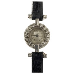 Omega Ladies Platinum and Diamond 1950s Mechanical Wristwatch