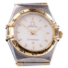 Omega Ladies SS and 18 Karat Yellow Gold Constellation Quartz Watch with Papers