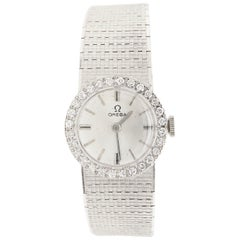 Omega Ladies Watch with Diamond Dial and Diamond Bezel, 18 Karat White Gold