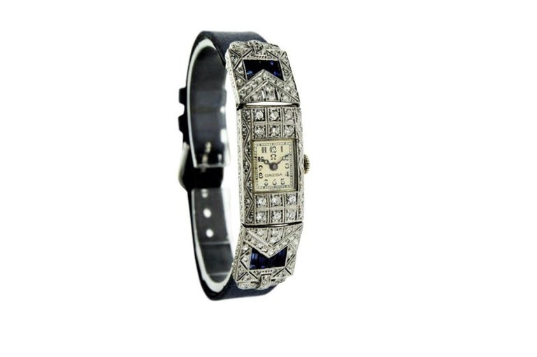 Omega Ladies White Gold Sapphire Diamond Art Deco Watch, circa 1930s In Excellent Condition For Sale In Long Beach, CA