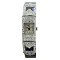 Omega Ladies White Gold Sapphire Diamond Art Deco Watch, circa 1930s