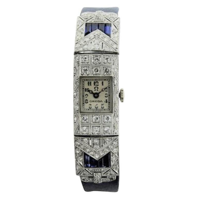 Omega Ladies White Gold Sapphire Diamond Art Deco Watch, circa 1930s For Sale