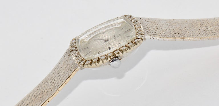 Women's Omega Ladies Wrist Watch, 18 Karat White Gold and Diamonds, Manual Winding For Sale