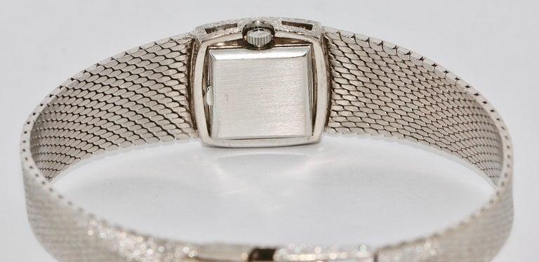 Omega Ladies Wristwatch, 18 Karat White Gold, with Diamonds, Manual Wind For Sale 1