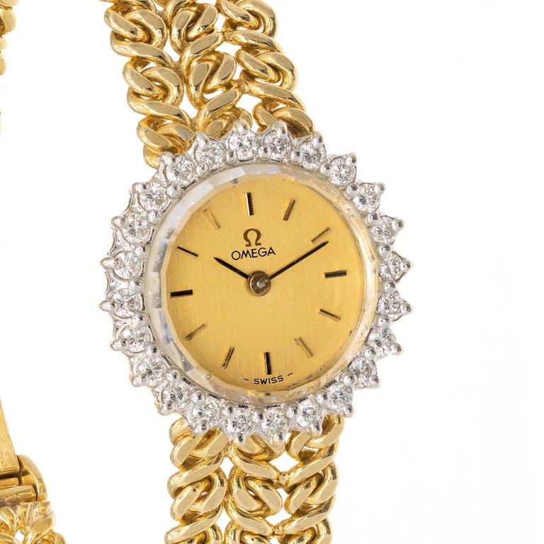 Round Cut Omega Ladies Diamond Yellow Gold Bracelet Wristwatch For Sale