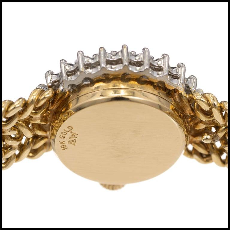 Omega Ladies Diamond Yellow Gold Bracelet Wristwatch For Sale 1