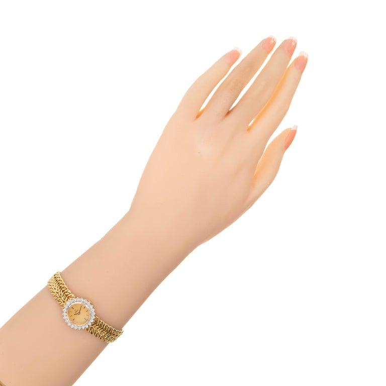 Omega Ladies Diamond Yellow Gold Bracelet Wristwatch For Sale 2