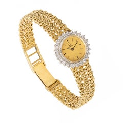 Omega Ladies Diamond Yellow Gold Bracelet Wristwatch