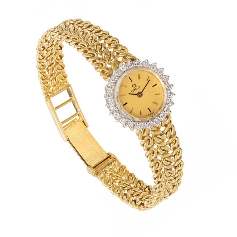 Omega Ladies Diamond Yellow Gold Bracelet Wristwatch For Sale