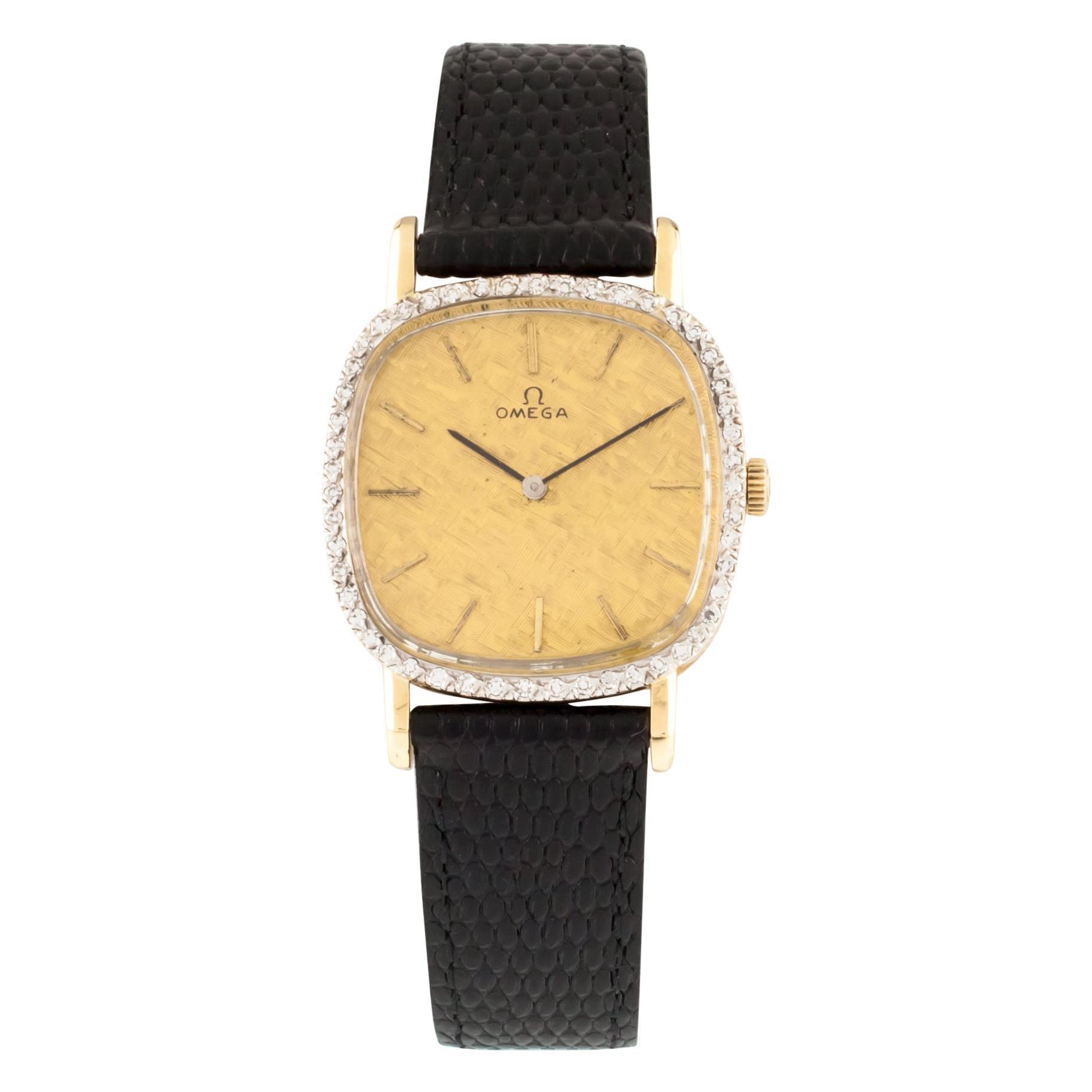 Omega Men's 14 Karat Gold Hand-Winding Watch with Diamond Bezel Leather Band
