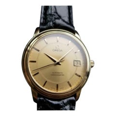 OMEGA Men's 18K Gold Chronometer Automatic w/Date cal.1109 c.2000s Swiss LV486