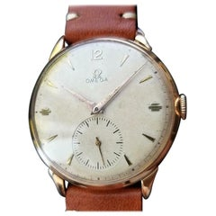 Omega Men's 18K Rose Gold Cal.265 Dress Watch circa 1947 Swiss Vintage MS177