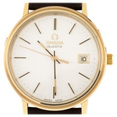 Omega Men's Quartz Gold-Plated Watch w/ Leather Band Model #1342