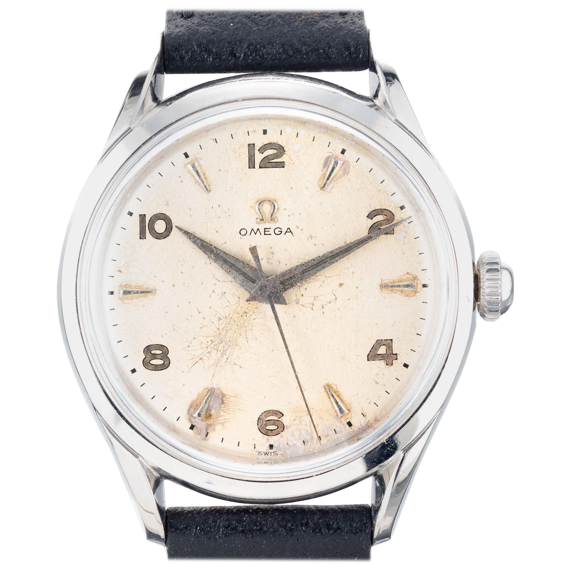 Omega Men's Stainless Steel Manual Wind Wristwatch