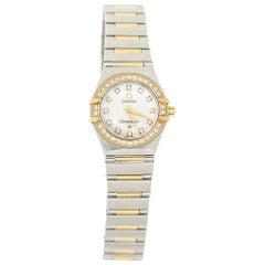 Omega MOP 18K Yellow Gold Diamond Constellation Women's Wristwatch 22 m