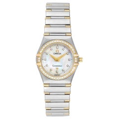 Omega MOP Diamonds 18K Yellow Gold And Stainless Steel  Womens Wristwatch 25.5mm