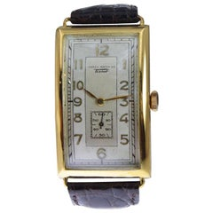 Omega or Tissot Art Deco Yellow Gold Filled Rare Watch with Original Dial, 1930s