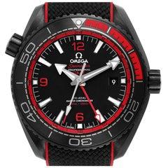 Omega Planet Ocean Deep Black Ceramic GMT Watch 215.92.46.22.01.003 Box Card