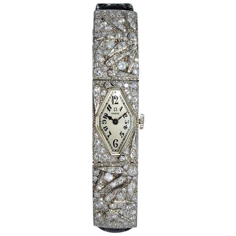 Omega Platinum Diamond Articulated Art Deco Dress Watch, circa 1930s