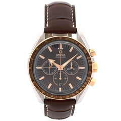 Omega Red Gold Stainless Steel Speedmaster Broad Arrow Chronograph Wristwatch