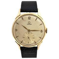 Omega Rose Gold Large Vintage Mechanical Wristwatch