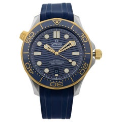 Omega Seamaster 18k Yellow Gold Steel Blue Dial Men's Watch 210.22.42.20.03.001