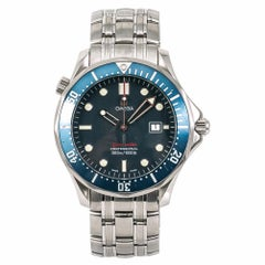 Omega Seamaster 2221.80 Men's Quartz Watch Blue Dial Stainless Steel