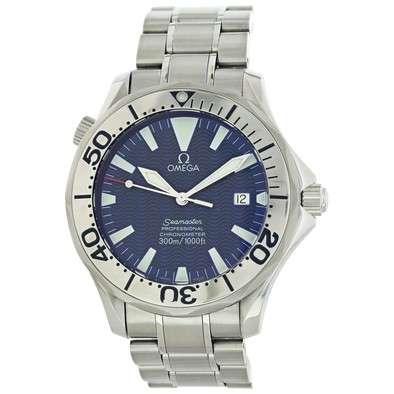 Omega Seamaster 2255.80.00 Electric Blue Men's Watch For Sale