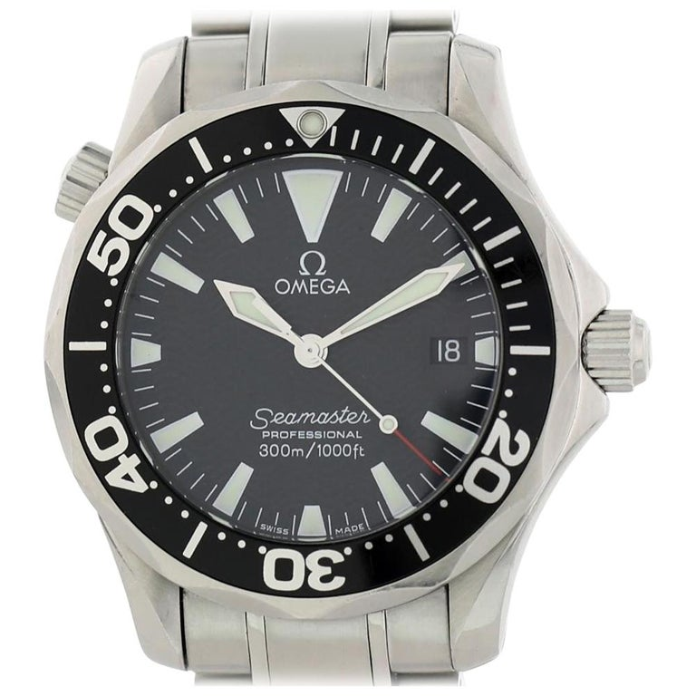 Omega Seamaster 2262.50.00 with Band and Black Dial Certified Pre-Owned For Sale