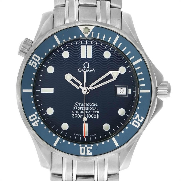 Omega Seamaster 300M Automatic Steel Mens Watch 2531.80.00. Automatic self-winding movement. Stainless steel case 41.0 mm in diameter. Omega logo on a crown. Blue unidirectional rotating bezel. Scratch resistant sapphire crystal. Blue wave decor