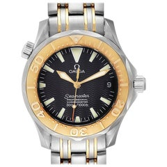 Omega Seamaster 36 Midsize Black Dial Yellow Gold Steel Watch 2453.50.00