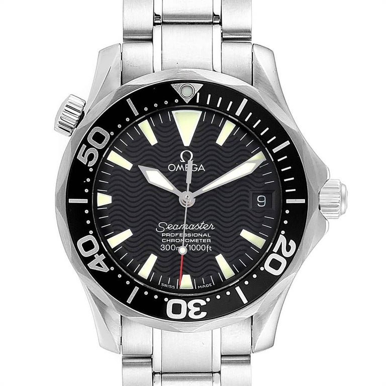Omega Seamaster 36mm Midsize Black Wave Dial Steel Watch 2252.50.00. Automatic self-winding movement. Stainless steel round case 36.25 mm in diameter. Black unidirectional rotating bezel. Scratch resistant sapphire crystal. Black wave decor dial