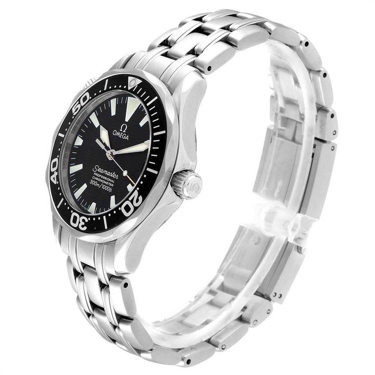 Men's Omega Seamaster Midsize Black Wave Dial Steel Watch 2252.50.00 For Sale