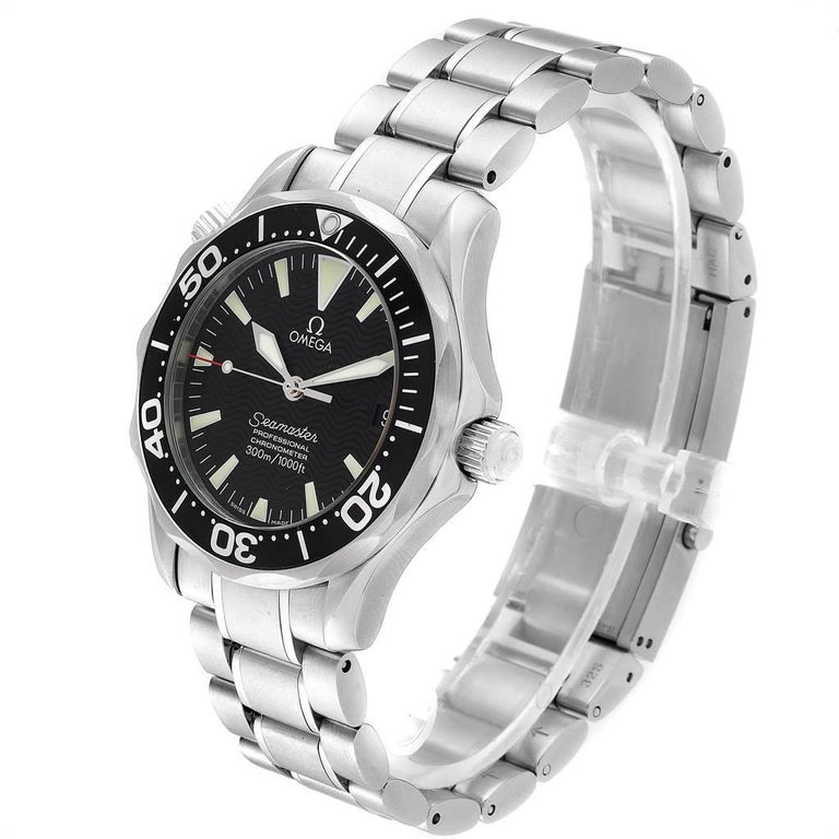 Omega Seamaster Midsize Black Wave Dial Steel Watch 2252.50.00 For Sale 1