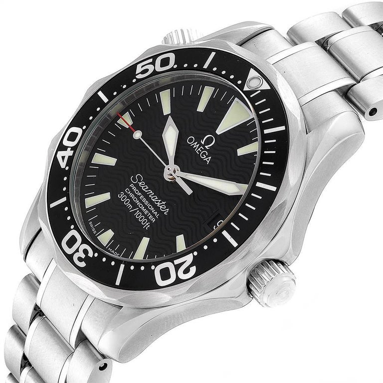 Omega Seamaster Midsize Black Wave Dial Steel Watch 2252.50.00 For Sale 2