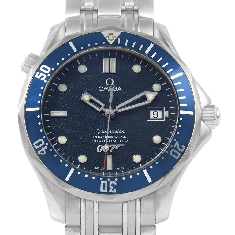 Omega Seamaster 40 Years James Bond Blue Dial Watch 2537.80.00 In Excellent Condition For Sale In Atlanta, GA
